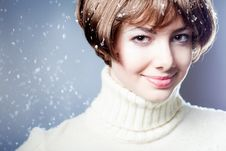 Free Young Beautiful Girl Rejoices To Snow Stock Photo - 18104780