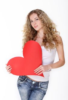 Free Blond Girl With Big Valentine Card Stock Photos - 18104793