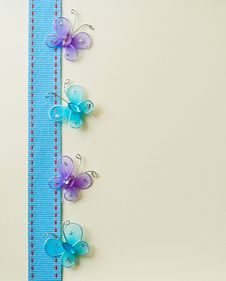 Free Butterfly And Ribbon Background. Royalty Free Stock Images - 18107539