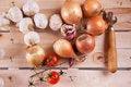 Free Onion, Garlic And Tomato Stock Photography - 18119432