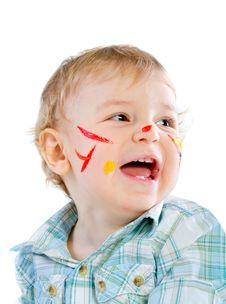 Free Beautiful Baby Covered In Bright Paint Stock Image - 18113601