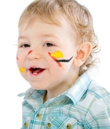 Free Beautiful Baby Covered In Bright Paint Stock Photo - 18113660
