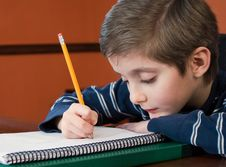 Free Young Boy Writing In Notebook Royalty Free Stock Photography - 18116377