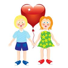 Girl And Boy With A Heart. Stock Photos