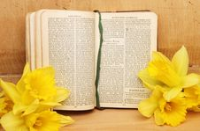 Prayer Book And Daffodils Royalty Free Stock Images