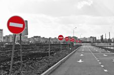 Free The Road And No Entry Road Signs Stock Photos - 18118513