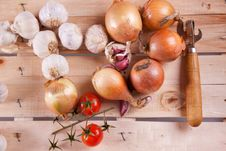 Free Onion, Garlic And Tomato Stock Photography - 18119432