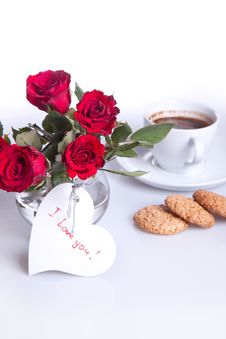 Breakfast With Cup Of Coffee And Red Roses Royalty Free Stock Photography