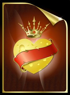 Free Heart From Cheese And A Gold Crown. Royalty Free Stock Images - 18119869
