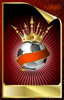 Football With A Gold Crown And A Red Tape. Royalty Free Stock Photos