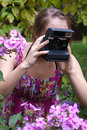 Free Girl With Old-fashioned Camera Royalty Free Stock Images - 18125279