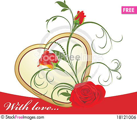 Free Red Roses With Floral Ornament And Golden Heart Royalty Free Stock Image - 18121006
