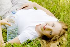 Woman With Bottle Stock Photos