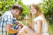 Free Couple With Wine Stock Photo - 18120360