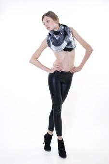 Free Fashion Model Posing In Leggings And A Scarf Stock Photo - 18120470