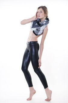 Free Fashion Model Posing In Leggings And A Scarf Stock Photo - 18120490
