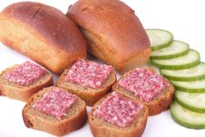 Sandwiches With Sausage And Rye Bread With Cucumbe Stock Photo