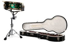 Free Green Snare Drum And Open Guitar In Case Royalty Free Stock Photography - 18120567