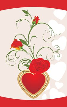 Free Red Roses With Floral Ornament And Heart. Card Stock Images - 18121024