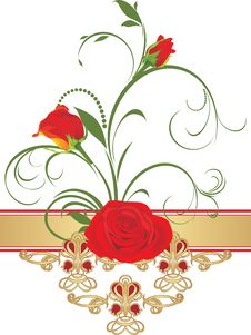 Free Red Roses With Floral Ornament. Retro Style Stock Photo - 18121030