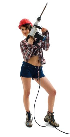 Free Girl With Drill Royalty Free Stock Image - 18121396