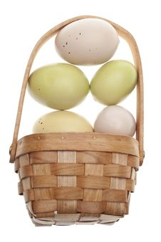 Free Speckled Easter Eggs In A Basket Isolated Royalty Free Stock Photos - 18122238