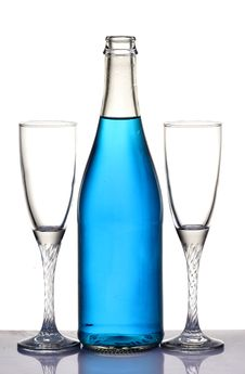 Free Champagne Bottle And Glasses Royalty Free Stock Image - 18122316