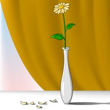 Free Cartoon Flower In Vase With Curtain On Background Royalty Free Stock Image - 18122386
