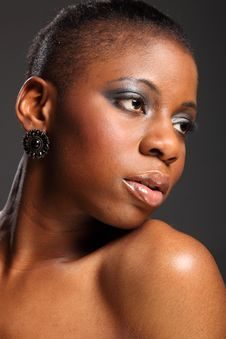 Free Moody Headshot Of Beautiful Black African Woman Royalty Free Stock Photography - 18122457