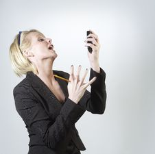Free Businesswoman With Mobile Phone Royalty Free Stock Images - 18124459