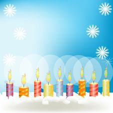 Celebratory Candles On A Pie With A Cream Royalty Free Stock Photo