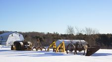 Free Winter Farm Eqipment With Barn Stock Photo - 18124830
