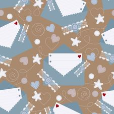 Seamless Background With Envelops And Hearts Stock Photo
