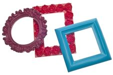 Modern Vibrant Colored Empty Frames Royalty Free Stock Photos