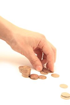 Free Golden Coins In Man S Hand Stock Photos - 18125653