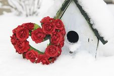Free Valentine Heart And Birdhouse In Snow Royalty Free Stock Image - 18125766