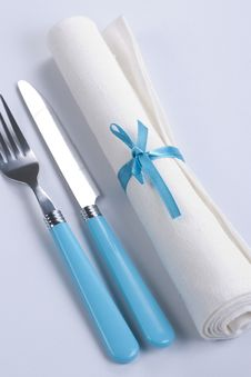 Free Table Setting In Blue And White Stock Photography - 18126052