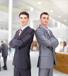 Free Two Young Businessman Posing Back Together Royalty Free Stock Images - 18126219