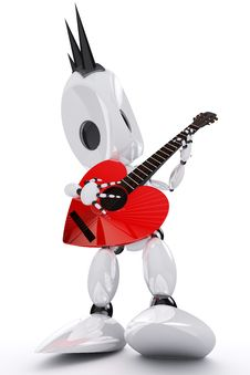 Free Awesome Robot Rock Star Stock Photo - 18126400