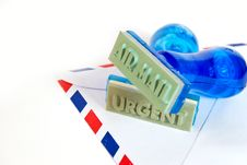 Urgent Stamp On Air Mail Stock Photography