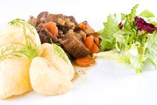 Free Stewed Beef Steak With Potatoes And Salad Stock Photos - 18127703