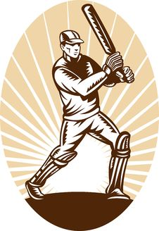 Free Cricket Batsman Batting Woodcut Stock Image - 18128881