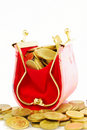 Free Coin Bag & Stacks Of Gold Coins Stock Images - 18130094