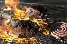 Free Boerewors Sausage And Sirloin Steak Royalty Free Stock Photography - 18130897