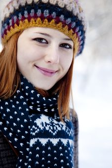 Free Beautiful Young Red-haired Woman In Winter Park Stock Photos - 18131243