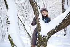 Free Beautiful Young Red-haired Woman In Winter Park Stock Photo - 18131250