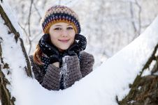Free Beautiful Young Red-haired Woman In Winter Park Stock Images - 18131254