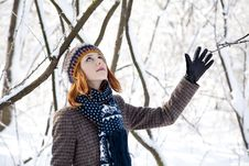 Free Beautiful Young Red-haired Woman In Winter Park Stock Photos - 18131263