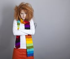 Free Sad Red-haired Girl With Comb. Royalty Free Stock Photo - 18131415