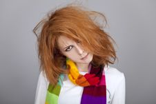 Free Red-haired Rock Girl In Scarf. Stock Image - 18131431